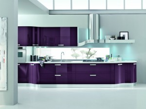 Kristal with plum glossy lacq. doors finish