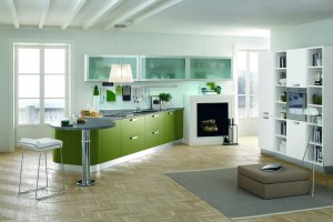 Kristal with spring green matt lacq. doors finish