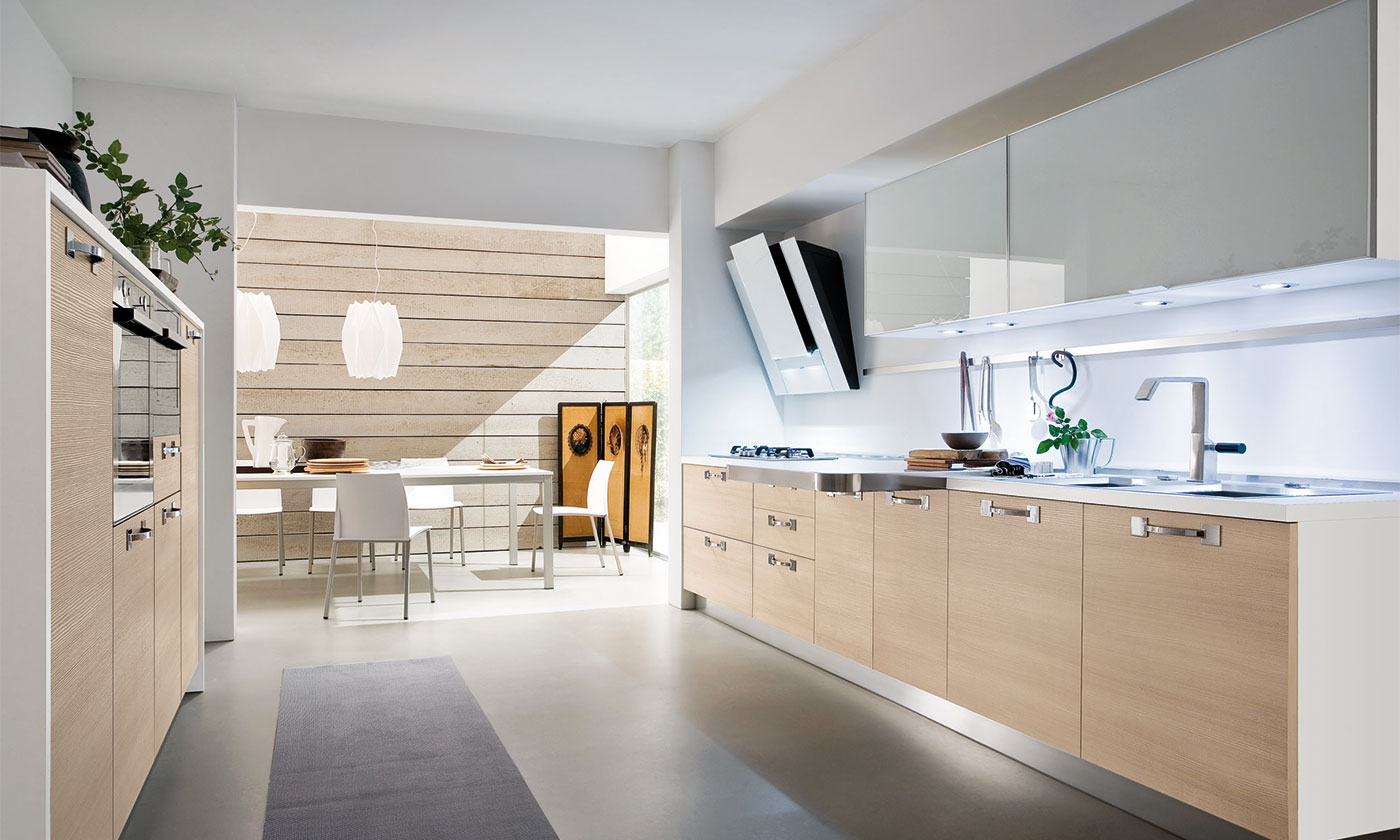 Cucina joy in finitura rovere corteccia gicinque cucine - Cucina rovere sbiancato e bianco ...