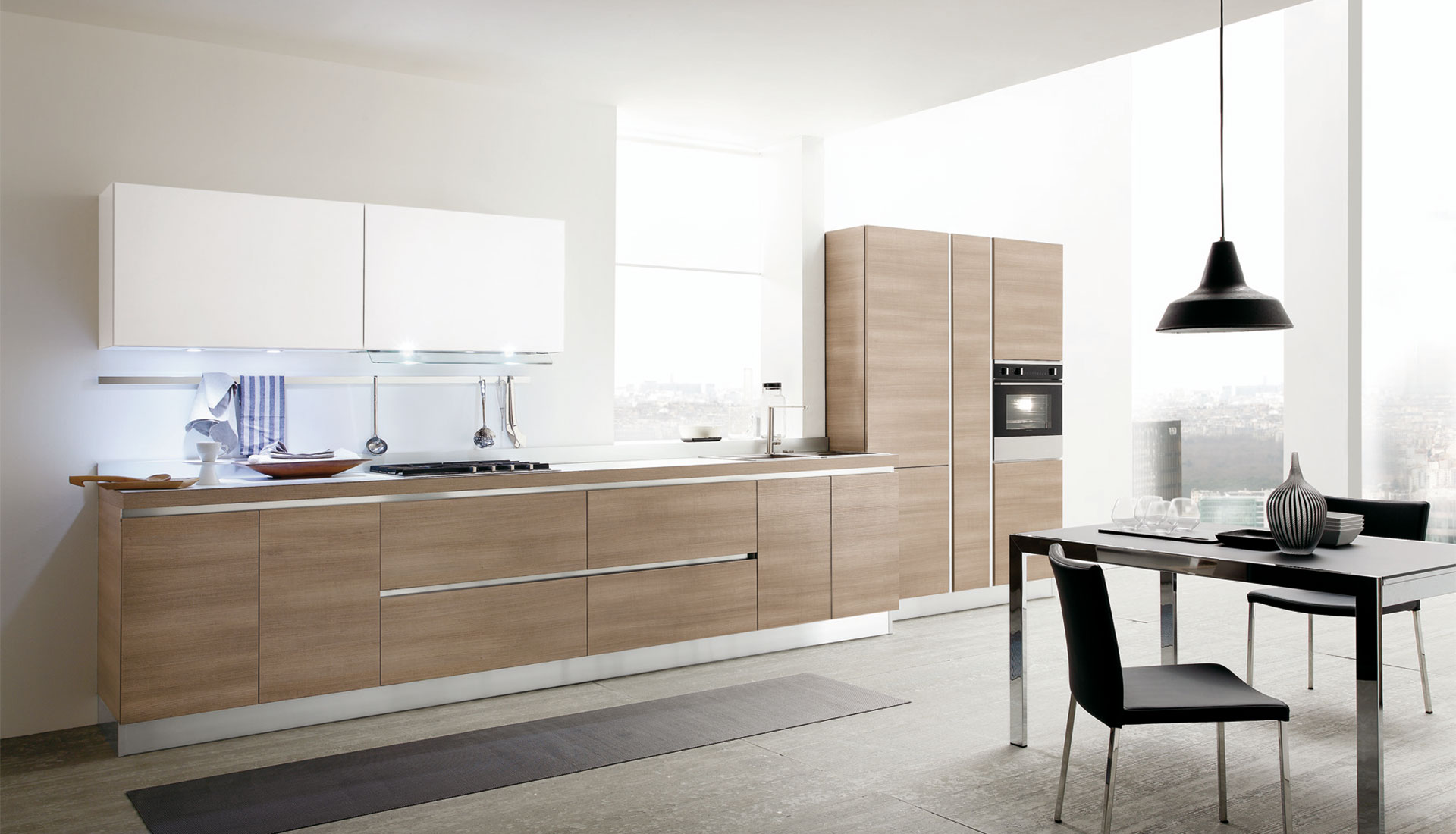 "The modern kitchen model Joy by Gicinque is enriched by the ""gola"" version  ..."