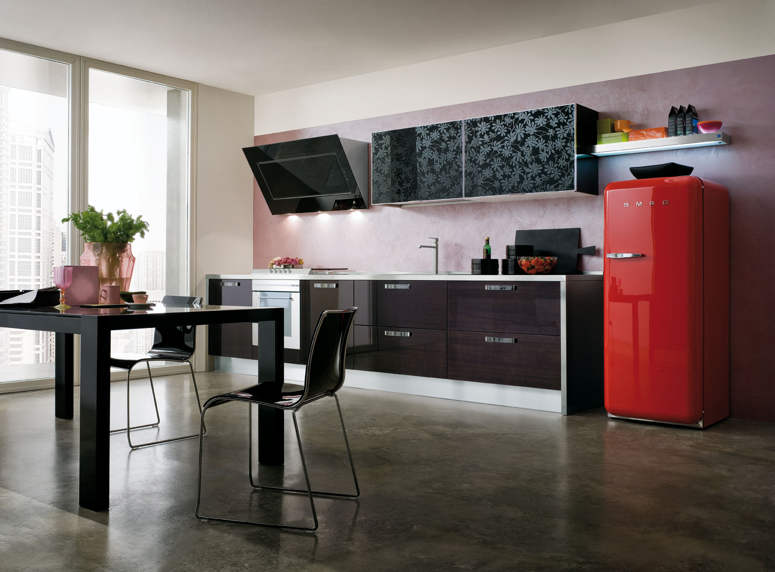 cucina zenith con ante in vetro disegni floreali gicinque cucine. Black Bedroom Furniture Sets. Home Design Ideas