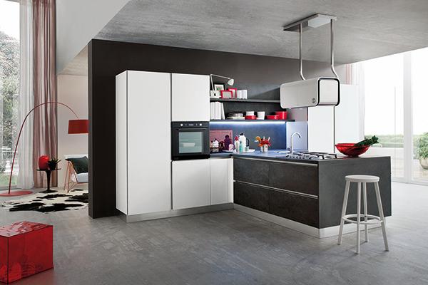 Cucina Myglass con ante vetro finitura opaca bianco e ante gres finitura opaca nero