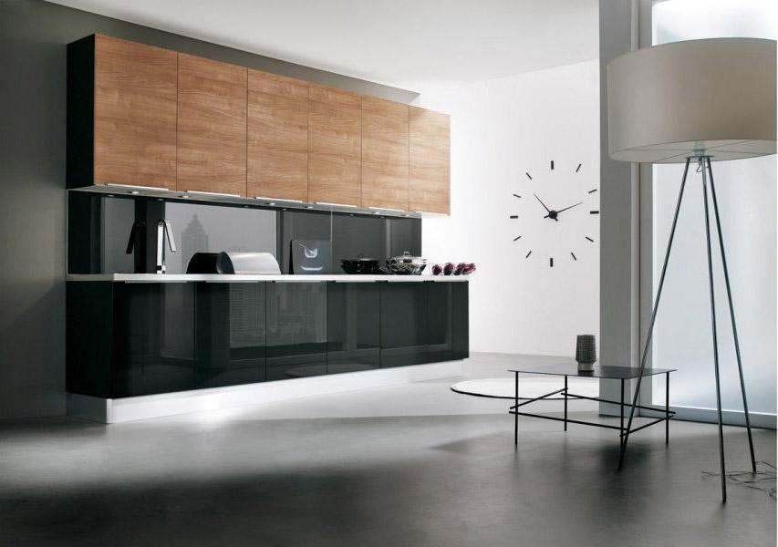 Cucina moderna City in legno noce e antracite