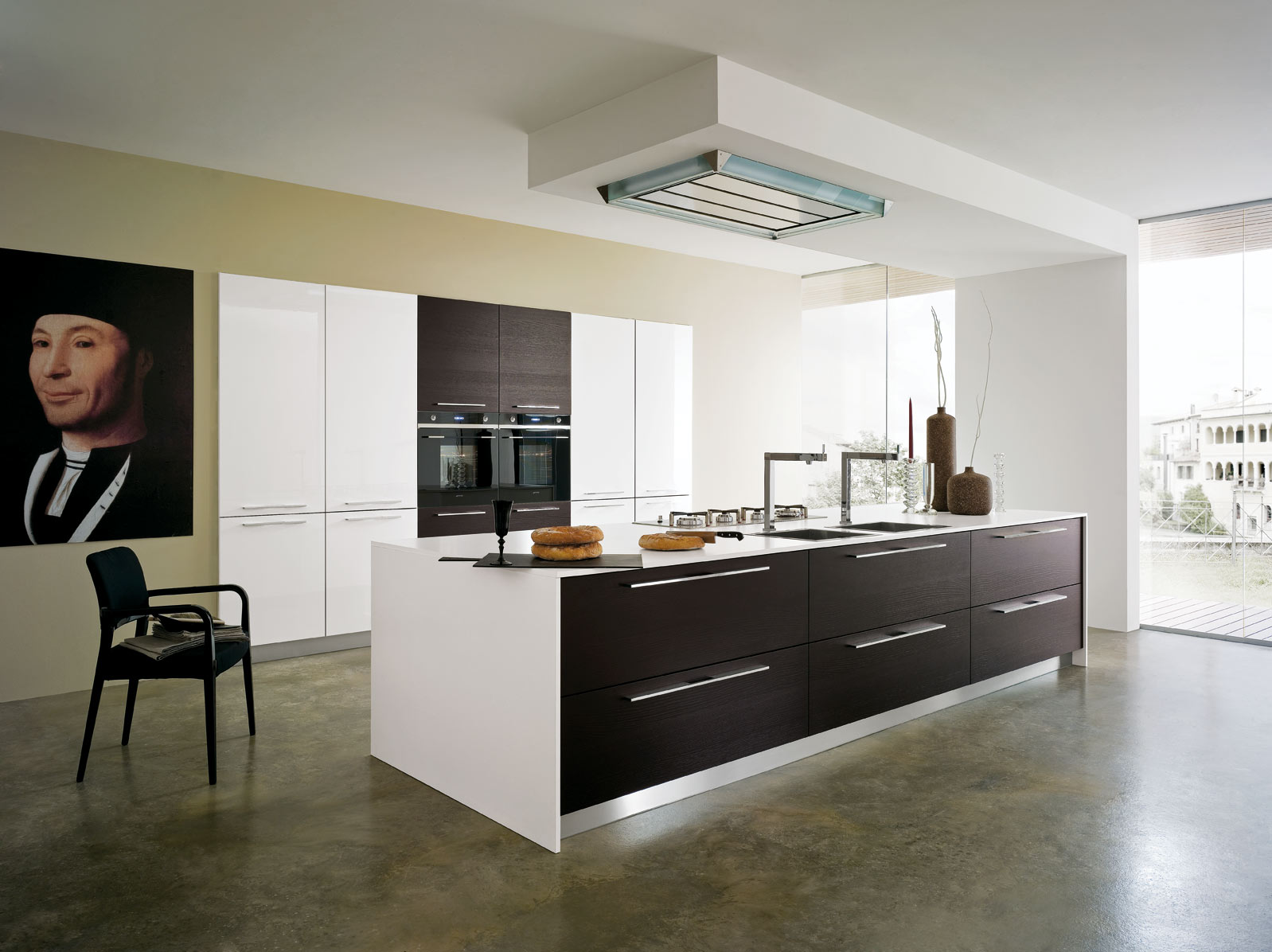 Cucina zenith in rovere weng e laccato bianco gicinque cucine - Cucina laccato bianco ...